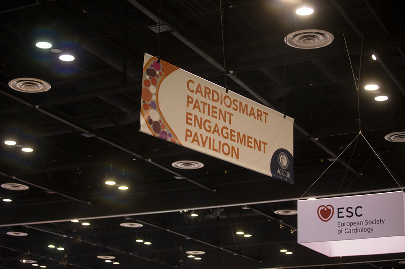 Attendees, speakers, and booths during Patient Engagement Pavilion