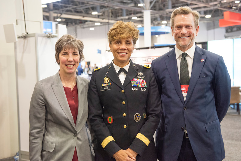 AAOS president Kristy L. Weber, U.S. Army Surgeon General Nadja West and AAOS CEO Thomas E. Arend, Jr.  during U.S. Army Surgeon General Interview