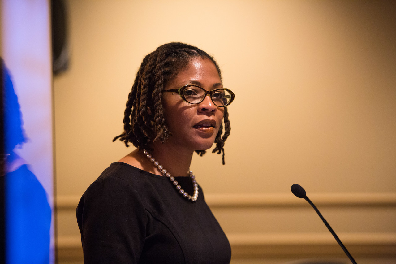 Chanita Hughes-Halbert, PhD, during Minority-Serving Institution Faculty Scholar-Cancer Center Collaboratives Welcome