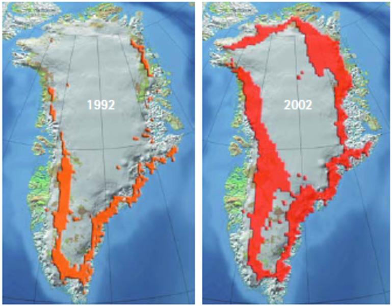 Greenland Icesheet Melting 1992 -2002