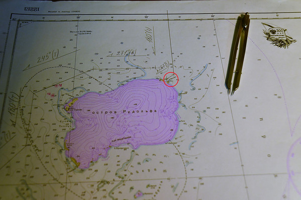 Russian map of Rudolf Island with Cape Fligely at 82° North