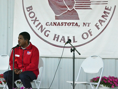 KYLE MENNIG - ONEIDA DAILY DISPATCH Leo Randolph gives a ringside lecture during the International Boxing Hall of Fame's Induction Weekend in Canastota on Thursday, June 9, 2016.