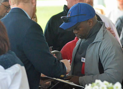 KYLE MENNIG - ONEIDA DAILY DISPATCH Tracy Harris Patterson signs an autograph after his ringside lecture during the International Boxing Hall of Fame's Induction Weekend in Canastota on Thursday, June 9, 2016.