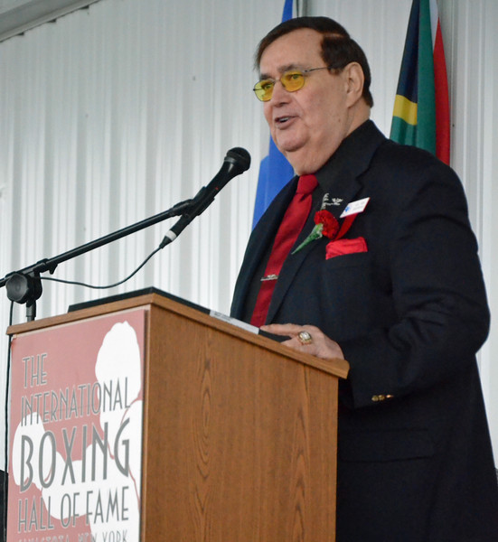 KYLE MENNIG - ONEIDA DAILY DISPATCH Class of 2016 inductee Col. Bob Sheridan gives his induction speech at the International Boxing Hall of Fame on Sunday, June 13, 2016.