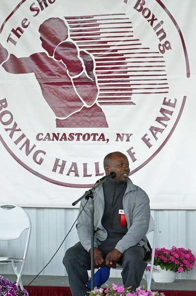 KYLE MENNIG - ONEIDA DAILY DISPATCH Tracy Harris Patterson gives a ringside lecture during the International Boxing Hall of Fame's Induction Weekend in Canastota on Thursday, June 9, 2016.
