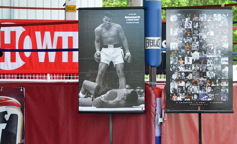 KYLE MENNIG - ONEIDA DAILY DISPATCH A tribute to Muhammad Ali is set up near the Madison Square Garden ring for the International Boxing Hall of Fame's Induction Weekend in Canastota on Thursday, June 9, 2016.
