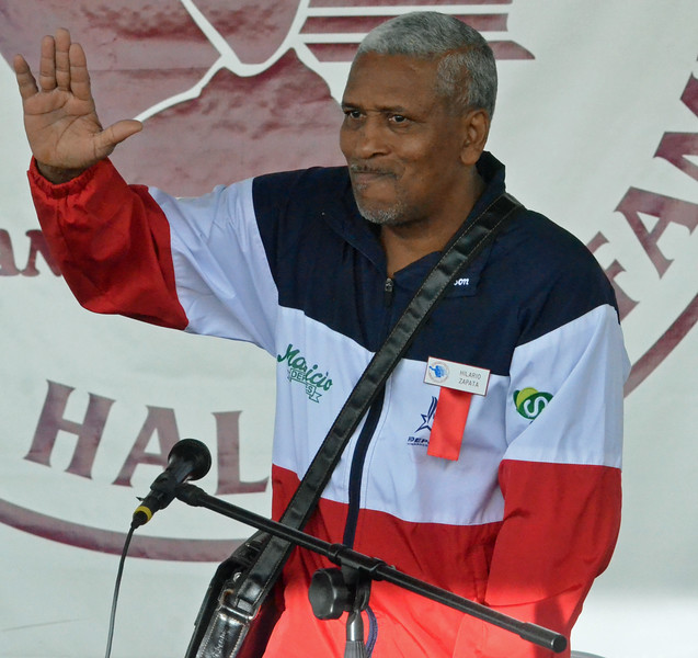 KYLE MENNIG - ONEIDA DAILY DISPATCH Hilario Zapata gestures to the crowd before ringing the opening bell during the International Boxing Hall of Fame's Induction Weekend in Canastota on Thursday, June 9, 2016.