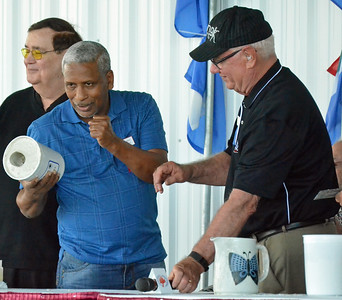 KYLE MENNIG - ONEIDA DAILY DISPATCH Hilario Zapata holds up the mold for his fist casting during the International Boxing Hall of Fame's Induction Weekend in Canastota on Friday, June 10, 2016.