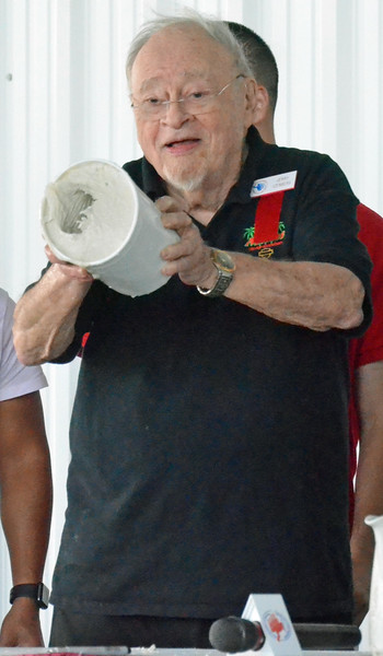 KYLE MENNIG - ONEIDA DAILY DISPATCH Jerry Izenberg holds up the mold for his fist casting during the International Boxing Hall of Fame's Induction Weekend in Canastota on Friday, June 10, 2016.