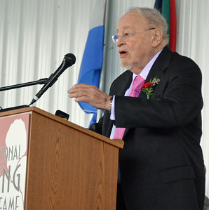 KYLE MENNIG - ONEIDA DAILY DISPATCH Class of 2016 inductee Jerry Izenberg gives his induction speech at the International Boxing Hall of Fame on Sunday, June 13, 2016.