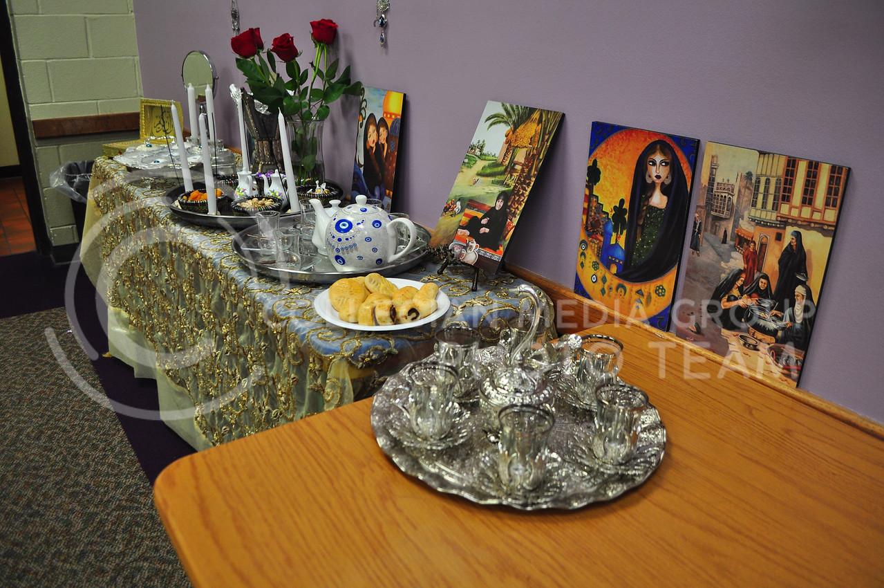 Iraqi art and wares at International Coffee Hour in Manhattan, Kan. Sept. 22, 2017 (Blake Reid | Collegian Media Group)