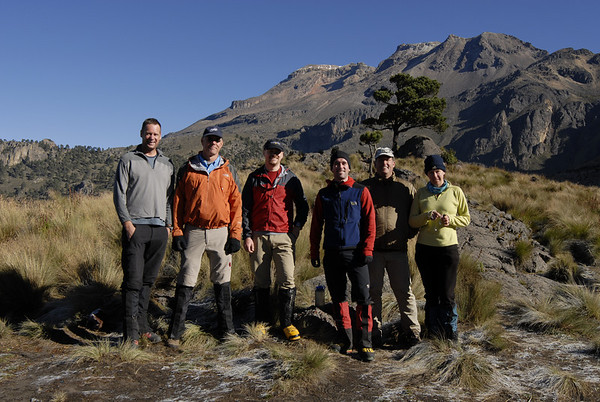 "The group at the base of Iztaccihuatl from the trailhead at La Joya.  Our route traverses from the right side to the left.  The group from left to right:  Kurt Wedberg, Scott McCay, James Duke, Michael Harris, Michael ""Tater"" Tate, Miriam"