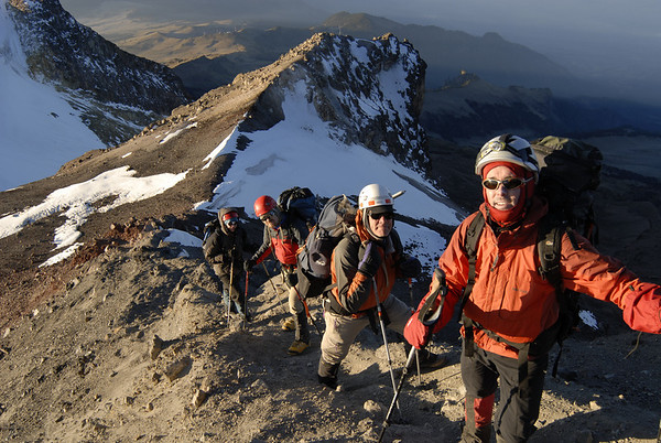The team high on Iztaccihuatl at 6:45 AM en route to the summit.