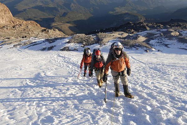 Roped up and beginning to ascend the Jamapa Glacier.