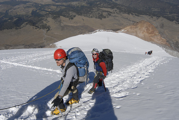 James Duke and Matthew Harris pacing themselves at almost 18,000 near the top of the Jamapa Glacier