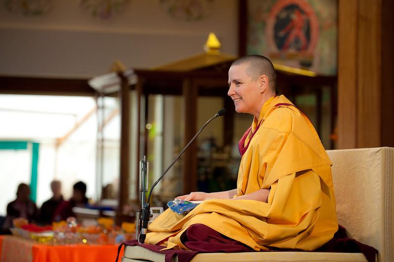 Gen Kelsang Chokga guides the morning meditation.