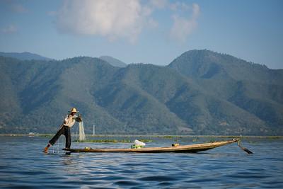 Inle Fisherman at Work