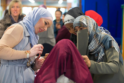01/02/2017.  World Hijab Day 2017 at Waterford Institute of Technology. Picture at Waterford Institute of Technology (WIT) who hosted an event for World Hijab Day 2017 at WIT's main campus, Cork Road, Waterford City. Pictured is Zala Mlac WIT Student tryng on a Hijab with Aeshah Alanazi from Saudi Arabia, Khadijat Umar from Waterford and Valbone Delijaj from Kosovo. Picture: Patrick Browne