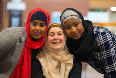 01/02/2017. FREE TO USE IMAGE.  World Hijab Day 2017 at Waterford Institute of Technology. Picture at Waterford Institute of Technology (WIT) who hosted an event for World Hijab Day 2017 at WIT's main campus, Cork Road, Waterford City. Pictured are Fartoon Ahmed Waterford, Dr. Una Kealy, Lecturer at WIT trying on a Hijab and Khadijat Umar Waterford. Picture: Patrick Browne
