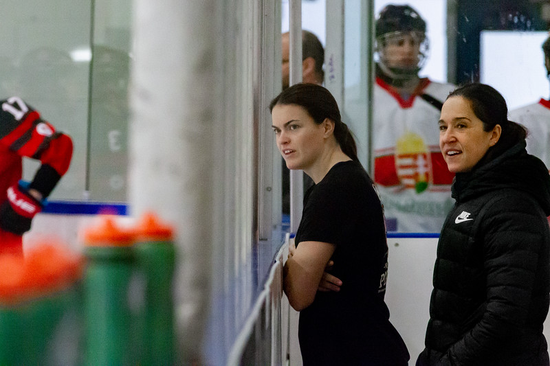 December 31, 2017 - Calgary, AB - Mac's Tournament Exhibition Hockey. Canada's National Women's Olympic Team and Hungary's National U18 Men's Team met for an exhibition game during the 2017-2018 Mac's AAA Midget Hockey Tournament held at the Max Bell Centre Arena's. Hungary won this game 6-4, with Brianne Jenner scoring two of Canada's four goals.