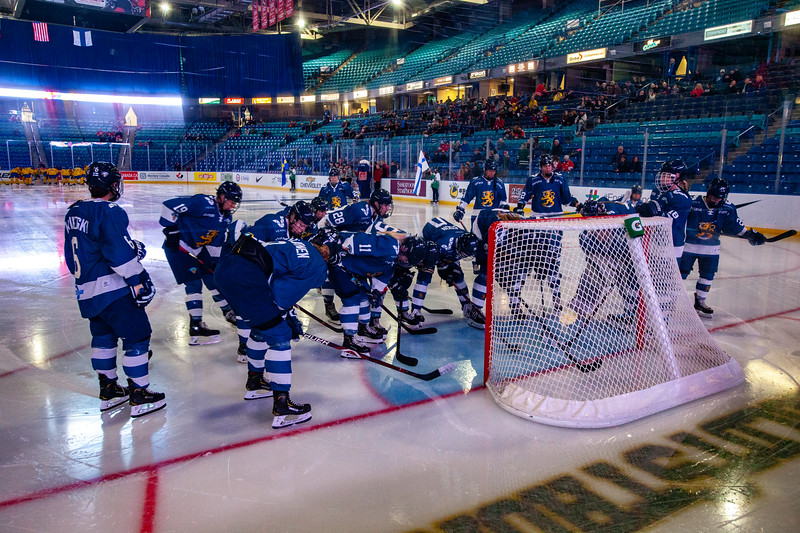 November 10, 2018 - Saskatoon, SK - Team Finland prior to the start of the Bronze medal at the Four Nations Cup.