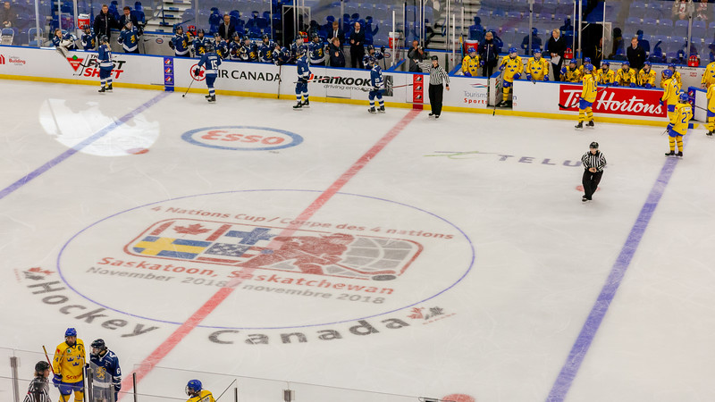 November 10, 2018 - Saskatoon, SK - Team Sweden and Team Finland played for the Bronze medal at the Four Nations Cup. Team Finland won the game with a final score of 4-2.