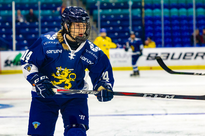November 10, 2018 - Saskatoon, SK - Team Finland's defender Nelli Laitinen at the Four Nations Cup during Bronze medal game action.