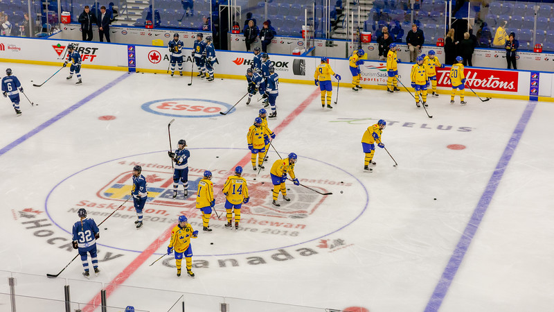 November 10, 2018 - Saskatoon, SK - Team Sweden and Team Finland during the Bronze medal game, pre-game skate at the Four Nations Cup. Team Finland won the game with a final score of 4-2.