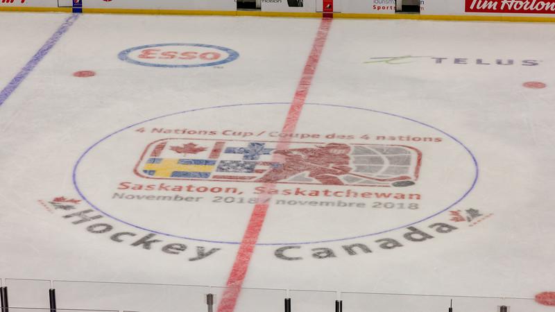 November 10, 2018 - Saskatoon, SK - Center ice logos at the Four Nations Cup.