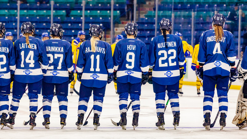 November 10, 2018 - Saskatoon, SK -  Team Finland at the end of Bronze medal at the Four Nations Cup. Team Finland won the game with a final score of 4-2.