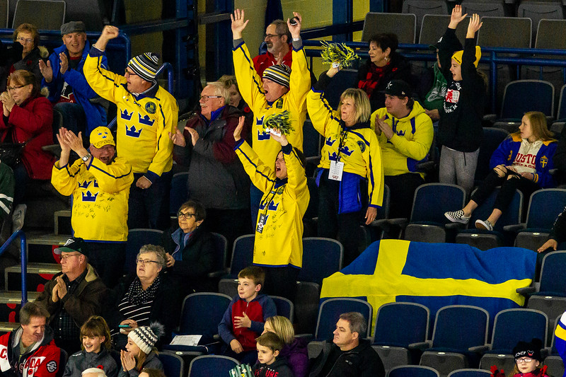 November 10, 2018 - Saskatoon, SK - Team Sweden fans who travelled to Saskatoon/Canada celebrate during Sweden's second goal.