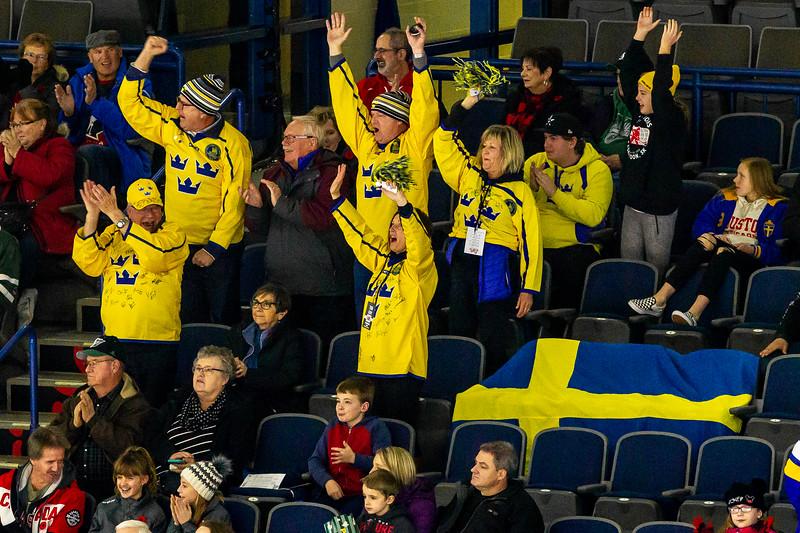 November 10, 2018 - Saskatoon, SK - Team Sweden fans who travelled to Saskatoon/Canada celebrate during Sweden's second goal.