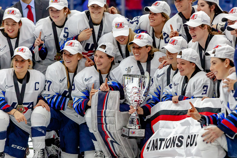 November 10, 2018 - Saskatoon, SK - Team USA celebrates their win with the 2018 Four Nations Cup Trophy and gold medals.
