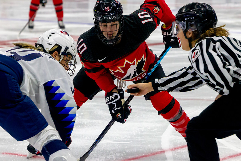 November 10, 2018 - Saskatoon, SK -  Team Canada and Team USA played for the Gold medal at the 2018 Four Nations Cup at SaskTel Centre in Saskatoon, SK. USA won the gold beating Canada with a final score of 5-2.