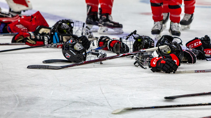 November 10, 2018 - Saskatoon, SK - Team Canada at the end of the game. Team USA won the Four Nations Cup gold medal, beating Canada with a final score of 5-2.