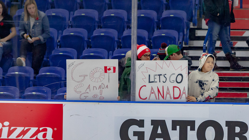 November 10, 2018 - Saskatoon, SK -  Fans of Team Canada at the end of the game. Team USA won the Four Nations Cup gold medal, beating Canada with a final score of 5-2.