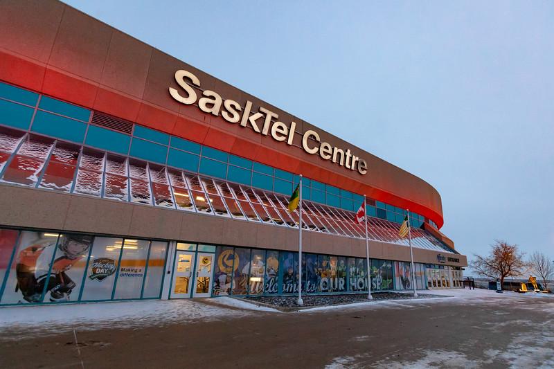November 9, 2018 - Saskatoon, SK - Exterior of SaskTel Centre, host venue of the 2018 Four Nations Cup.