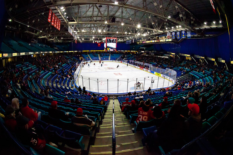November 9, 2018 - Saskatoon, SK - Team Canada and Team Finland played each other in their final preliminary game of the women's international hockey Four Nations Cup. Team Canada won 3-0. Interior seating bowl of the SaskTel Centre.