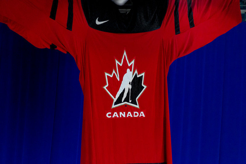 November 9, 2018 - Saskatoon, SK - Hockey Canada's very large home jersey of Team Canada on display within SaskTel Centre during the 2018 Four Nations Cup tournament.