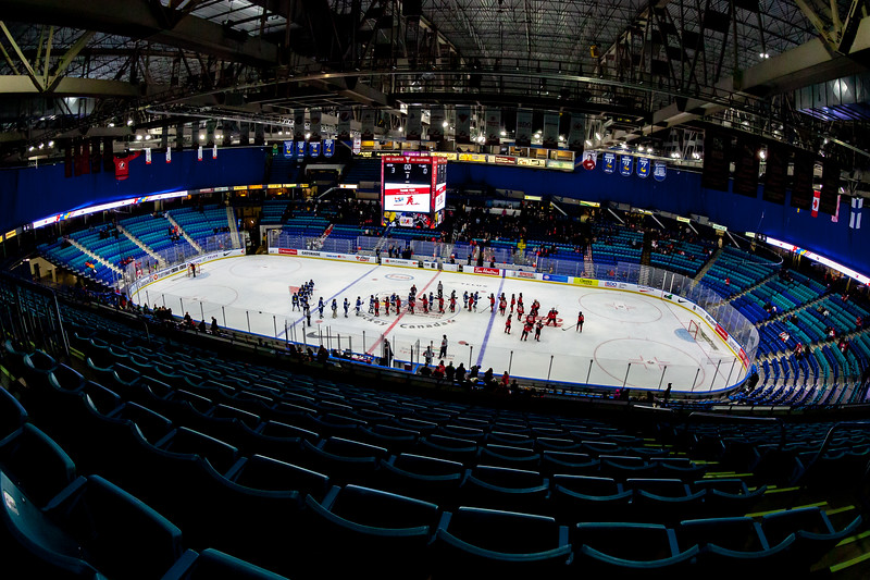 November 9, 2018 - Saskatoon, SK - Teams shake hands after Team Canada and Team Finland played each other in their final preliminary game of the women's international hockey Four Nations Cup. Team Canada won 3-0. Interior seating bowl of the SaskTel Centre.