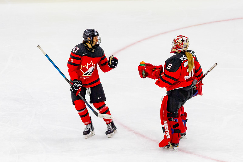 November 9, 2018 - Saskatoon, SK - Team Canada and Team Finland played each other in their final preliminary game of the women's international hockey Four Nations Cup. Team Canada won 3-0.