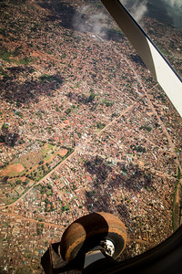 Behind the scenes photos, domestic flight to Gulu, a town in Northern Uganda, looking down on Kampala
