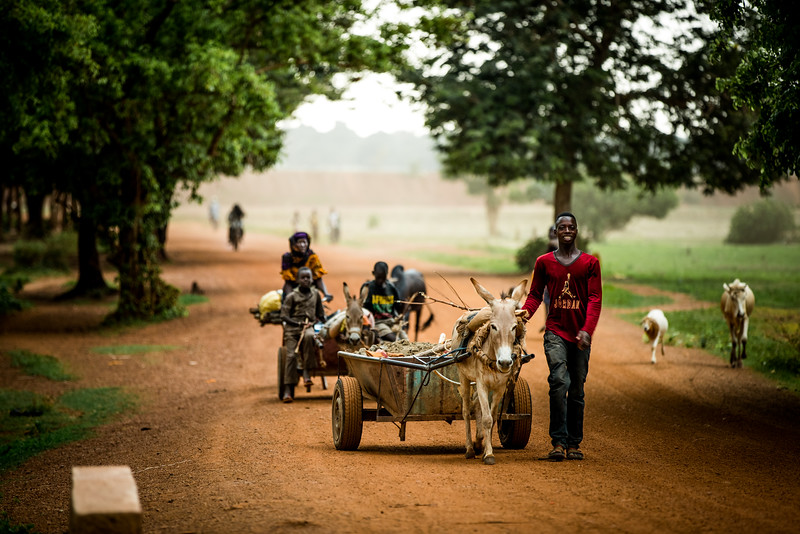 Villagers travel down a dirt road during a dust storm in a rural part of Burkina Faso