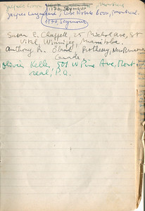 Page from list of members of the International Jazz Club