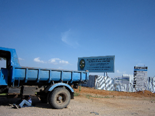 A truck is shown outside the construction site of St. Peter Claver High School in Dodoma, Tanzania.