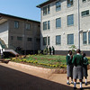 Students enjoy the cleanliness and safety of the rear courtyard.