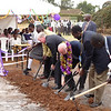 Fr. Charlton joins other dignitaries in literally breaking the ground on the site of the new School. Construction is expected to begin in January of 2009.