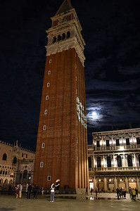 We had picked a hotel that was only about 250 yards from one of the Vaporetto stops, so we wheeled our luggage, checked in, dropped the luggage off, and heading for a late evening walk to the famous (and horribly crowded in the day time) St Marks Square.  This is the Campanile by night.