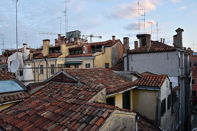 The next morning, the view from the balcony of our hotel room.  A sea of tiled roofs.
