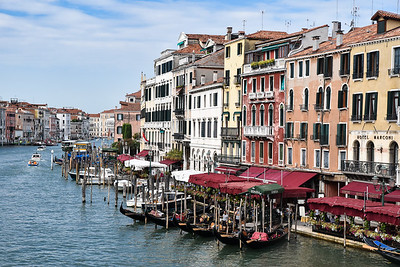 One of the many views of the Grand Canal from the Rialto Bridge.